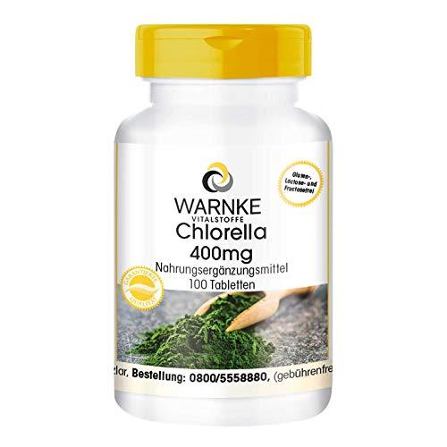 Chlorella 400mg – Alga Chlorella pyrenoidosa en polvo – Alto contenido en clorofila y vitamina B12 – Vegana y sin aditivos – 100 comprimidos