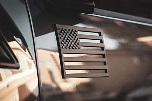 American Flag Emblem Decal Cut-Out - Set of 2 Black Gloss on Matte 3D 3M Adhesive Badge for Car or Truck