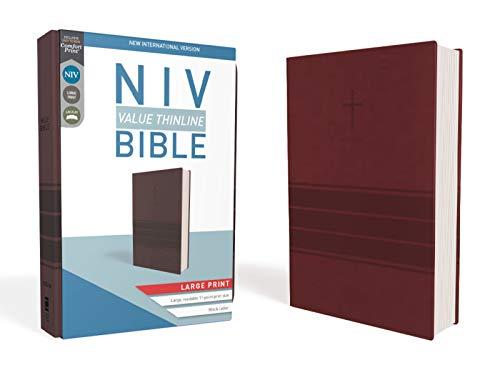 NIV, Value Thinline Bible, Large Print, Leathersoft, Burgundy, Comfort Print