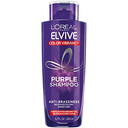 L'Oreal Paris Elvive Color Vibrancy Anti-Brassiness Purple Shampoo for Color Treated Hair, neutralizes Yellow & Orange Tones, Highlighted Brunette, Blonde & Grey Hair, 6.7 Fl. Oz