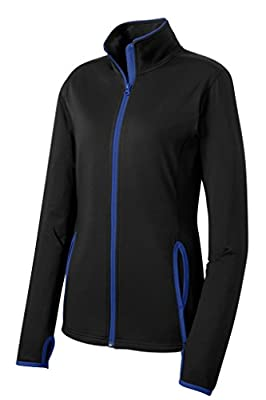 Joe's USA Ladies All Sport Wicking Stretch Contrast Full-Zip Jacket-Royal-M from