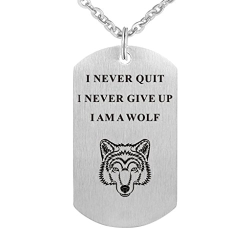 I Never Give Up I Never Quit Wolf Pendant Stainless Steel Necklace Inspirational Jewelry Personalized Jewelry Gift for Boys Girls Women Men (Rectangle)