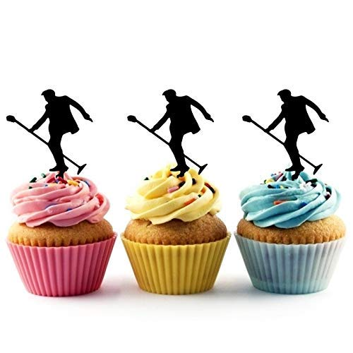 Elvis Rock Star Silhouette Acrylic Cupcake Toppers 12 pcs