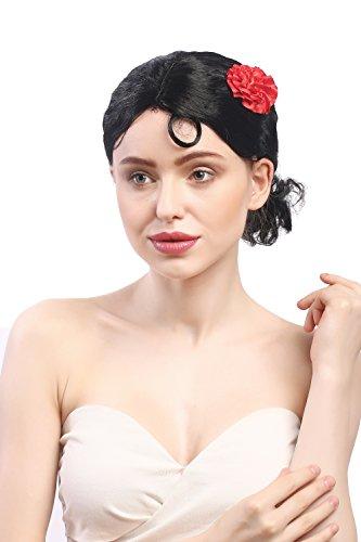 WIG ME UP - 0036-ZA103 Perruque Dames Carnaval Noir Rose Court Espagne Senorita Carmen Tango Bolero