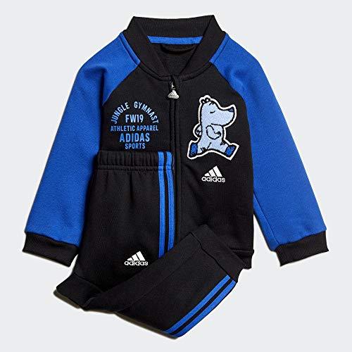adidas Unisex-Kinder I Bball Jog FL Trainingsanzug, schwarz/blau, 104