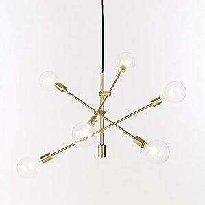 Lámpara de techo con 6 luces de fijación para lámpara de araña, lámpara de techo, lámpara de techo, color dorado, galvanización, metal, Gold(s), E27 40.00W 220.00V