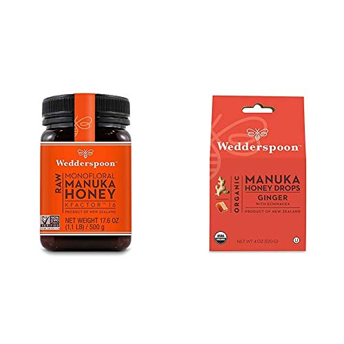 Wedderspoon Raw Premium Manuka Honey KFactor 16+, 17.6 Ounce & Organic Manuka Honey Drops, Ginger + Echinacea, Unpasteurized, Genuine New Zealand Honey, Perfect Remedy For Dry Throats, 4.0 Ounce