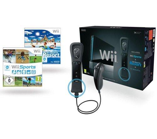 Console Jeu Wii Black + Jeu Wii Sport + Jeu Wii Sport Resort + 1télécommande Wii Plus Noir + 1manette Nunchuk Black