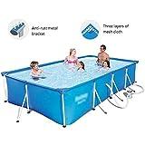 Qazxsw Kinderschwimmbad/Halterung Schwimmbad/Haus Erwachsener Kinder Schwimmbad/Outdoor-Fischteich/großes Paddel-Pool/Dreischichtige Verdickung,Blau,300 * 201 * 66cm