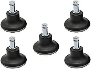 Bell Glides Replacement Office Chair Swivel Caster Wheels to Fixed Stationary Castors, Short Profile Black 5pcs