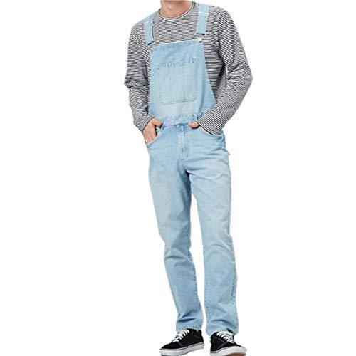 Fansu Peto Jeans Monos Hombres, Denim Jeans Bib Overoles Pantalón Vaqueros de Mono para Hombre Pantalones de Bolsillo Rotos Mezclilla Jumpsuit Casual (Azul Claro,S)