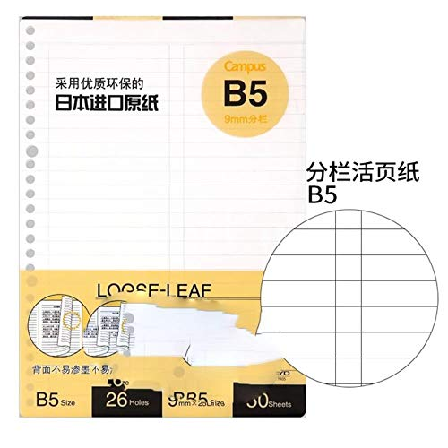 Loose Leaf Campus Spiraal Filler papier Macaron notitieboek vervanging/vervanging binnenkanten Binder Ring Binder papier Spleten B5