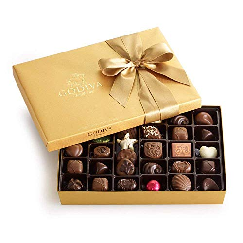 Godiva Chocolatier Gold Ballotin, Classic Gold Ribbon, Great for Gifts, Gourmet Chocolate, Chocolate Gifts, 36 Count