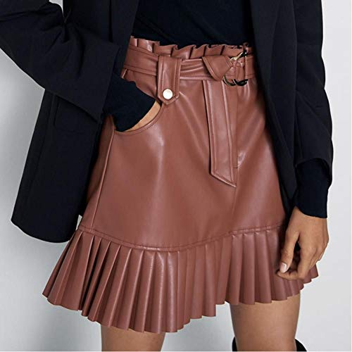 LJLLINGA Falda de Cintura Alta con Volantes Mini Faldas Cortas Sexis Falda de Faja Negra Faldas de Cuero Elegantes Falda de Cuero de imitación para Mujer con Bolsillos