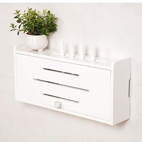 Boîte de rangement pour routeur sans fil - Boîte d'occlusion pour décodeur Box Cat WiFi fixé au mur, boîte de rangement rectangulaire en bois massif avec couvercle et poignée (Couleur : Blanc)