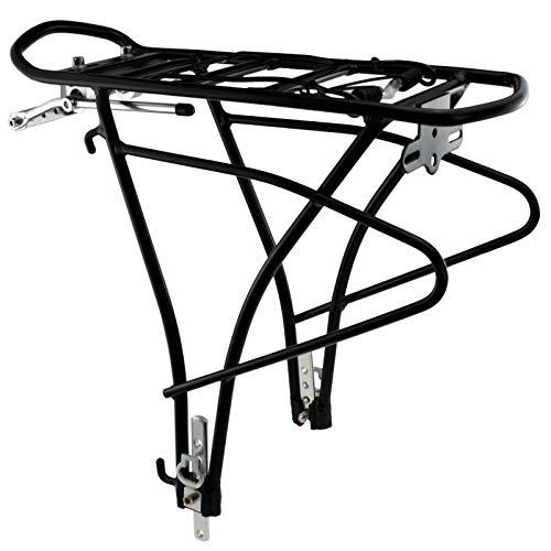 SCHOBERG Fahrrad Gepäckträger HINTEN Alu verstellbar für 24, 26, 28 Herren und Damen Fahrrad Universalbefestigungsset, schwarz max. Zuladung 25kg - 2