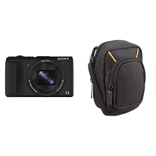 Sony DSC-HX60 Digitalkamera (20,4 Megapixel, 30-fach opt. Zoom, 7,5 cm (3 Zoll) LCD-Display, Exmor R CMOS Sensor, NFC/WiFi) schwarz & Amazon Basics Kameratasche für Kompaktkameras, groß
