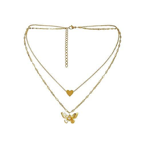 AAA Versión coreana nueva luz de lujo nicho doble capa collar moda titanio acero oro real amor tres dimensiones ahueca hacia fuera mariposa colgante cuello cadena