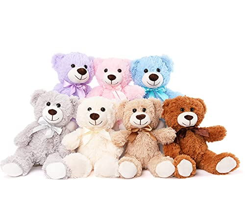 MorisMos 7 Packs Teddy Bear Stuffed Animals Plush Toys in 7 Color Teddy Bears - Brown / White / Grey...