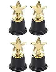 NUOBESTY 6 stks Star Gold Award Trofeeën Gold Star Trofee voor Awards Winnaars Winnende Prijzen Competities Kids Party Favors Size 2 Goud+zwart