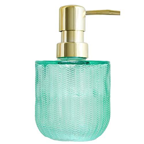YunNasi Dosatore Sapone Liquido Vetro Dispenser Sapone con Tazza Realizzato in Vetro per Detersivo per Piatti, Lozione Shampoo, Controsoffitto Bagno, Cucina, Lavanderia (1 PCS, Verde)