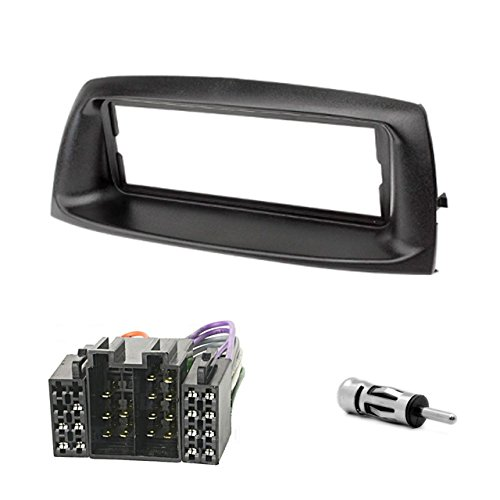 CARAV 11-018-801-6 Façade d'autoradio 1-DIN pour Fiat Punto (188) 1999-2010 + ISO et câble adaptateur d'antenne