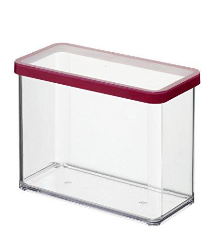 Rotho Loft Vorratsdose 2.1 l, Kunststoff (BPA-frei), transparent / rot, 2.1 Liter (20 x 10 x 14,2 cm)