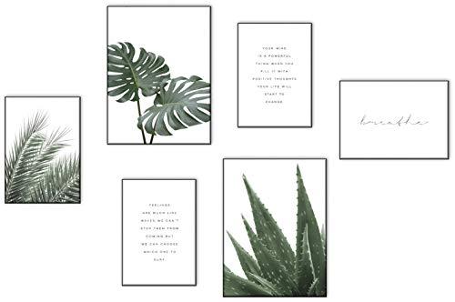 ELAFI® Premium Poster Set | Bilder Sprüche Zitate | Schöne Bilder als Wohnzimmerdeko Posterset 6x-3x DINA3 & 3X DINA4 ohne Bilderrahmen |Deko Bilder Schlafzimmer | Kunstdruck Blätter (Green Love)