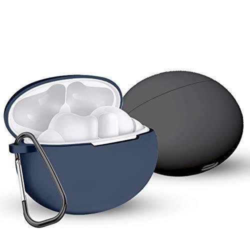 Yoowei [2-Pack] Funda Compatible con Huawei FreeBuds Pro Auriculares Earphones, 2in1 Kit de Accesorios Protectora de Silicona Funda + Gancho de Msetal, Negro + Azul