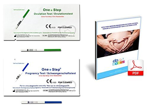 30 x Test de ovulacion 20 mlU/mL, Tiras reactivas de Prueba de ovulacion in-vitro OneStep y 5 x Test de embarazo Diagnostico en casa, incluye un LIBRO GUIA DIGITAL EN PDF
