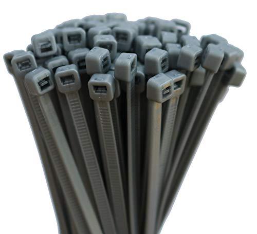 100 Stück Kabelbinder Farbig Auswahl: Rot Grün Blau, Orange uvm. 4,8 X 300 mm (Grau)