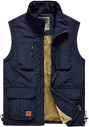 THBEIBEI Chaleco de pesca para hombre, ligero, cálido, impermeable, transpirable, con ganchos extraíbles (color azul marino, tamaño: S (110 cm)