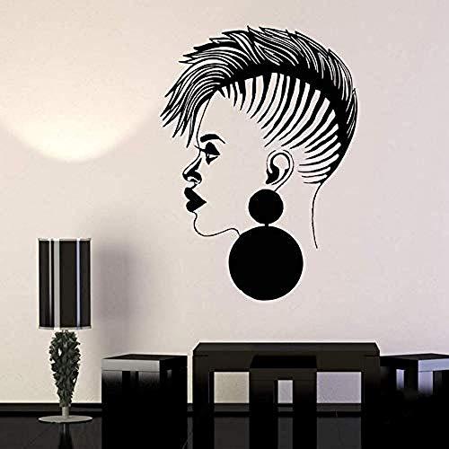 Peluquería Vinilo Tatuajes de Pared Salón de Belleza Mujer Africana Dama Negra Pegatinas Barbería Tienda de letreros Tienda Logotipo Decoración de Pared 81x57 cm