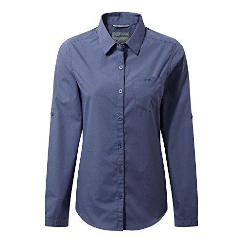 Craghoppers Damen Shirt Kiwi Langarm, China Blue, 34, CWS462