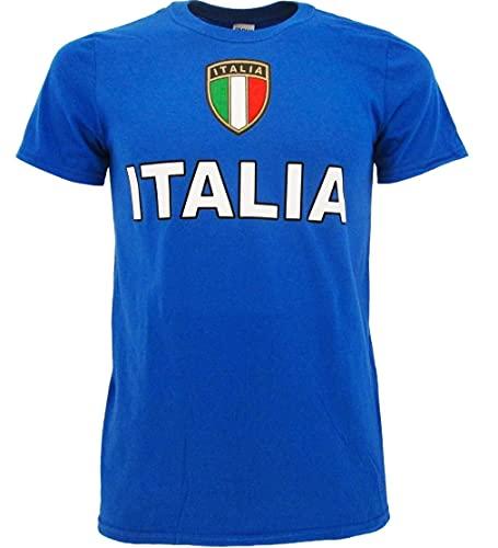 BrolloGroup T-Shirt Italia Personalizzabile con Nome e Numero Maglietta Bambino Uomo Maniche Corte Azzurri PS...