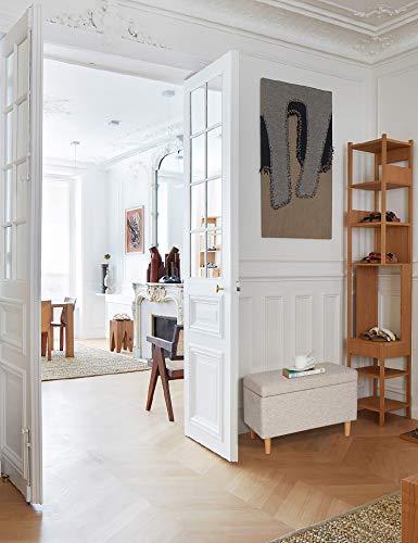 Sitzbank mit Stauraum Aufbewahrungsbox aus Leinen Sitzhocker und Deckel mit Holzfüßen Truhenbank Stoffbezug Gepolsterte Betthocker Modern Design für Wohnzimmer Büro Schlafzimmer Flur Beige - 5