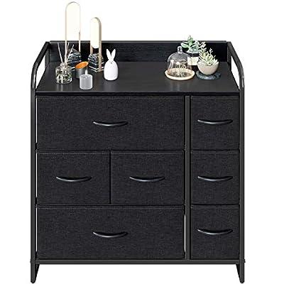 CubiCubi Dresser Organizer with 7 Drawer, Furniture Storage Tower Unit for Bedroom Hallway Entryway Closets, Dresser Clothes Storage with Sturdy Steel Frame Wood Top, Dark Black