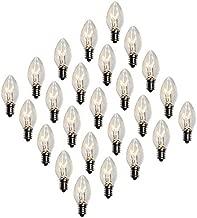 Creative Hobbies Box of 25 Clear Blinker Light Bulbs, C7 Candelabra Base,Random Blinking - 7 Watt - Candelabra Base -Great for Night Lights and Christmas Strings