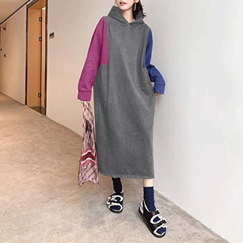 LXDWJ Vestido de Invierno Mujeres Otoño Manga Larga Sudadera con Capucha Vestidos Moda Casual Patchwork Sudaderas con Capucha Midi Vestidos (Color : B, Size : Medium)
