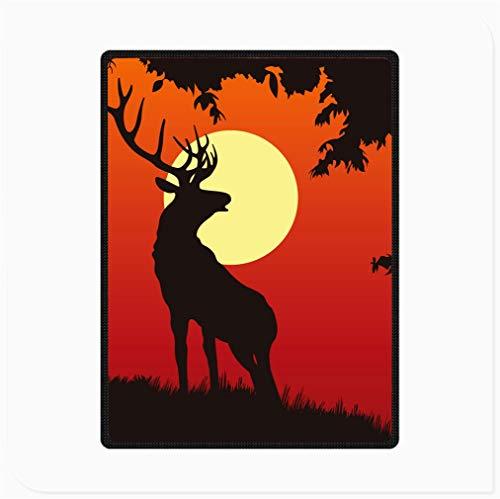 """TndPcn Flanell Decke Super Soft Cosy, Blutroter Himmel Sun Deer Shadow, Micro Fleece Decke, für Bett Sofa Kinder Geschenke (Size : 70""""x 90"""")"""