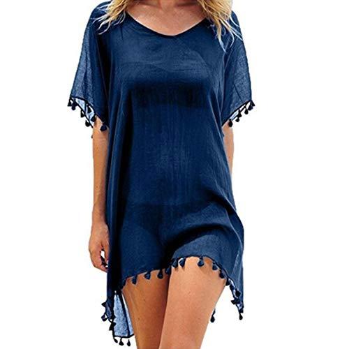 ECOMBOS Damen Strandkleid Bikini Cover Up Strandponcho Sommerkleid Sommer Bademode Strand Pareo (Marine)