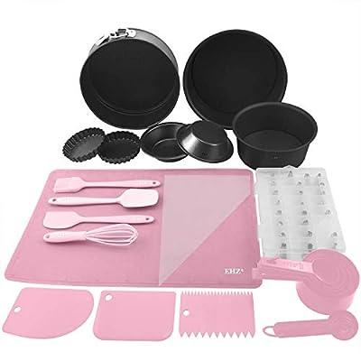 Baking Set Cake Decorating Supplies Kit Nonstick Bakeware Set Cake Pie Cupcake Custard Tart Pans Icing Tips Silicone Spatula Whisk Pastry Mat Measuring Cups - 60 Piece (Pink)