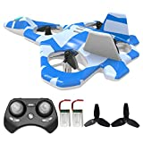 Mayceyee F22 RC Drones for Kids and Beginner, Easy to Fly and Hover, RC Helicopter Quadcopter Fighter Jet with 360° Flip, LED Light Indication, 2 Batteries. Gift Toys for Kids (Blue)