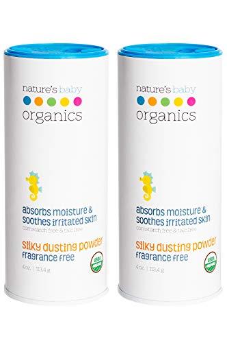 Natures Baby Organics Baby Powder Talc Free Dusting Powder With Aloe Soft Gentle 100% Organic Baby Powder Hypoallergenic Fragrance Free 4 oz each, 2 Pack