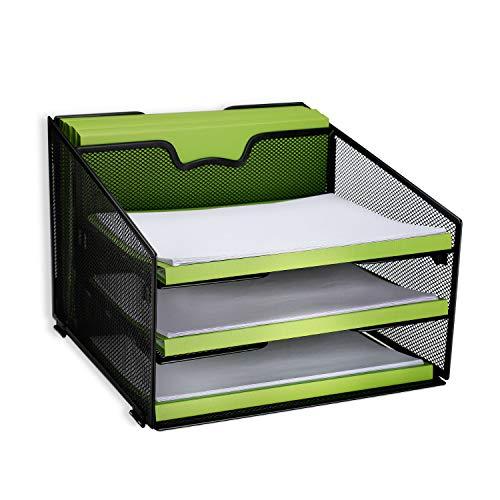 reliatronic malla organizador para bandeja de archivo de escritorio, 3bandejas de letra y vertical de 2secciones, negro