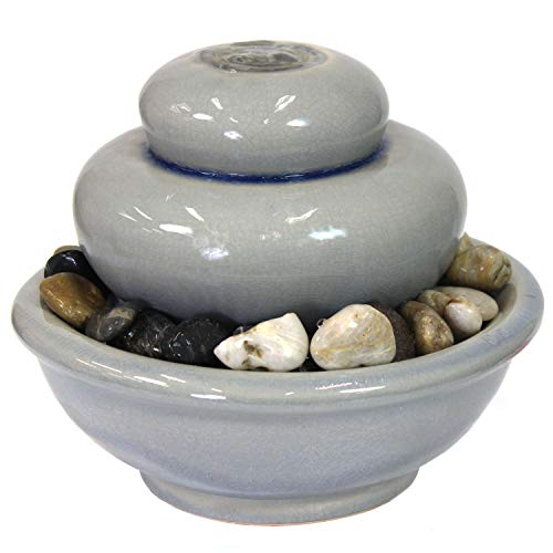 Sunnydaze Smooth Cascade Ceramic Indoor Tabletop Fountain - Inside Mini Desk Water Feature for Office, Bedroom, Dining Room, Bathroom and Kitchen - 7-Inch