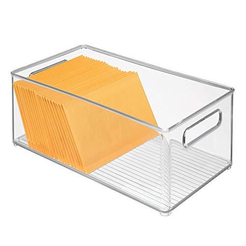 mDesign Caja de almacenaje con asas para despacho – Organizador para oficina alargado de plástico para el armario o cajón – Cajas organizadoras para sobres, bolígrafos y demás – transparente