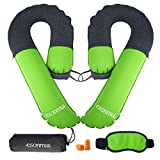 Travel Pillow, Inflatable Neck Pillow Outdoor with Blindfold and Earplugs for Adult to Avoid Neck and Shoulder Pain, Used for Airplane Traveling, Bus, Train and Office (2pcs, Green)