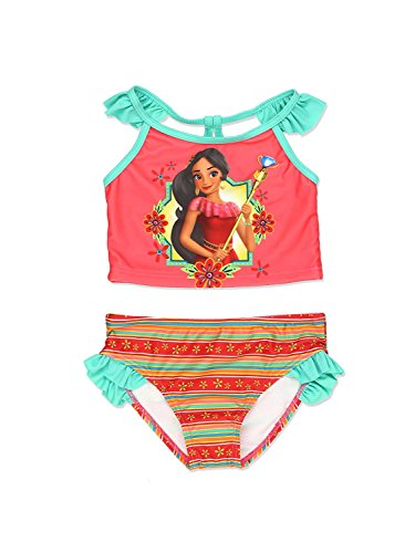 Elena of Avalor Girls Swimwear Swimsuit (4, Coral)
