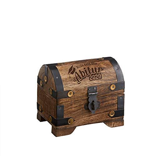 Casa Vivente Kleine Schatztruhe mit Gravur, Zum Abitur 2020, Aus dunklem Holz, Verpackung für Geldgeschenke, Schmuckkästchen, Aufbewahrungsbox aus Holz